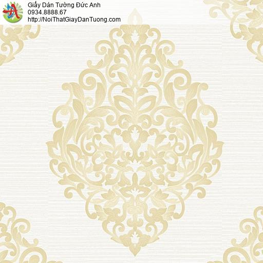 53308-1 Giấy dán tường hoa văn cổ điển màu vàng, nền màu kem đẹp