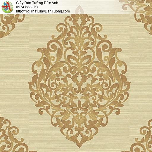 53308-3 Giấy dán tường hoa văn cổ điển phong cách Châu Âu màu vàng