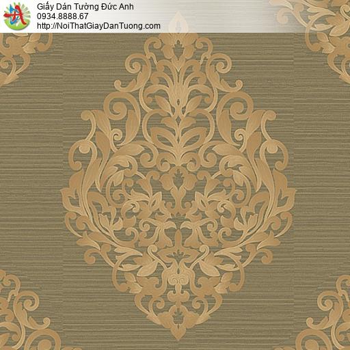 53308-4 Giấy dán tường cổ điển màu nâu vàng, giấy dán tường phong cách Châu Âu