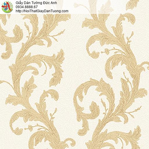 53310-1 Giấy dán tường dạng dây leo màu vàng, giấy dán tường cồ điển