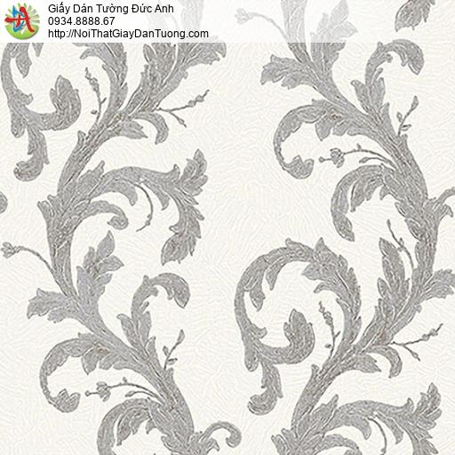 53310-2 Giấy dán tường dạng dây lá leo tường màu xám, giấy dán tường hoa văn