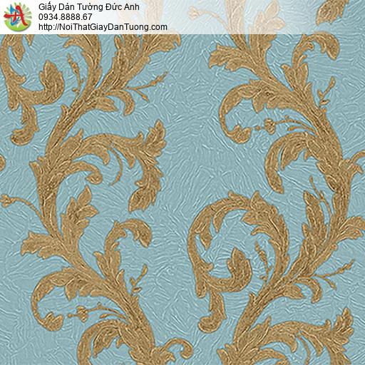 53310-4 Giấy dán tường hoa văn dây leo màu vàng nền màu xanh