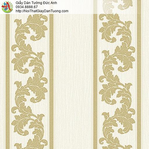 53312-1 Giấy dán tường kẻ sọc lớn màu vàng, giấy sọc hoa văn cổ điển