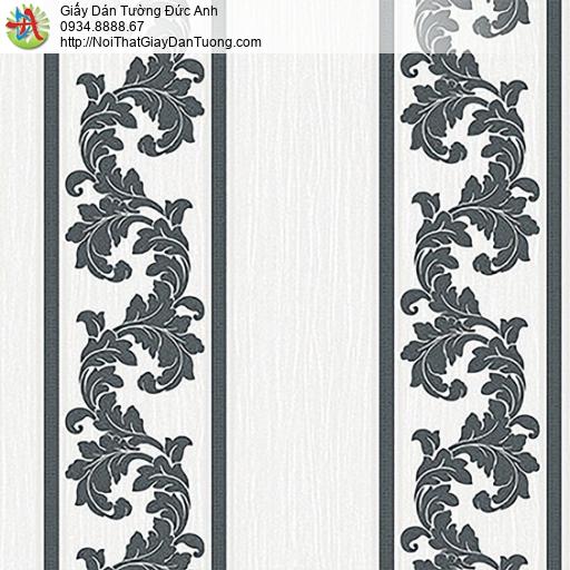 53312-2 Giấy dán tường kẻ sọc to màu đen trắng, giấy sọc cổ điển màu trắng đen
