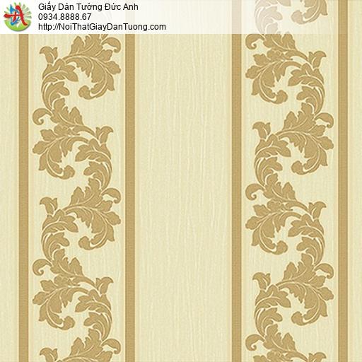 53312-3 Giấy dán tường sọc to màu vàng, giấy kẻ sọc hoa văn cổ điển