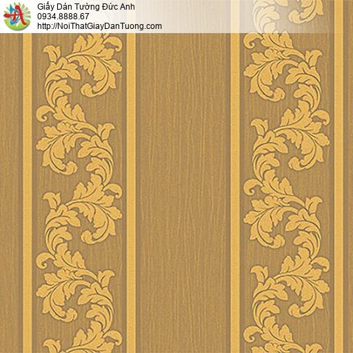 53312-4 Giấy dán tường sọc to màu vàng đồng, giấy sọc hoa văn cổ điển