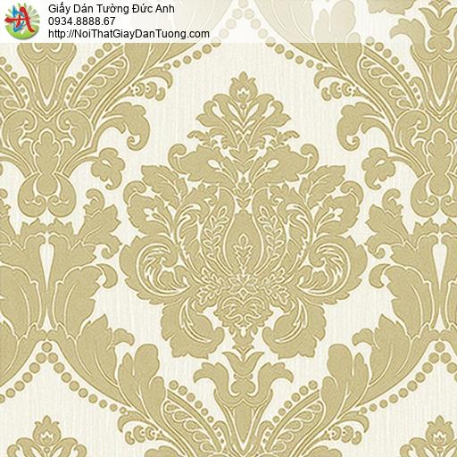 53313-1 Giấy dán tường hoa văn cổ điển màu vàng, giấy dán tường Đức Anh Tphcm