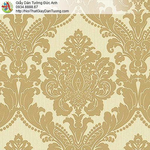 53313-3 Giấy dán tường hoa văn to, giấy dán tường cổ điển Châu Âu màu vàng