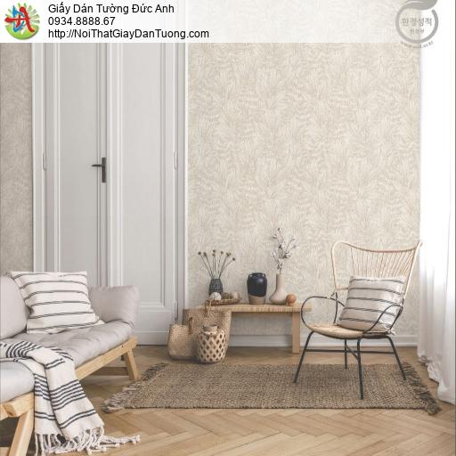 2282-1 Giấy dán tường lá cây khô, giấy dán tường hoa lá màu nâu nhạt