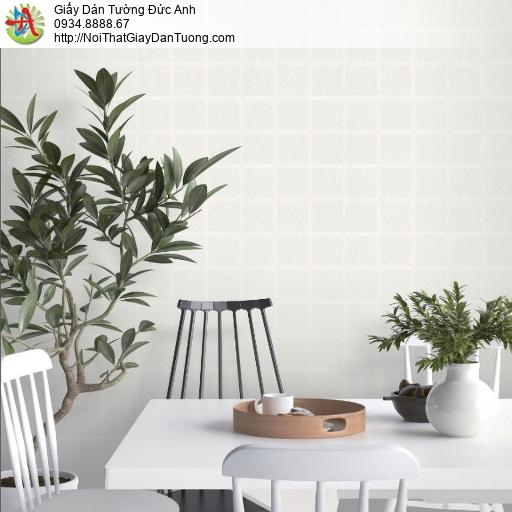 2284-1 Giấy dán tường hình ô vuông, giấy dán tường gân hình vuông màu trắng xám