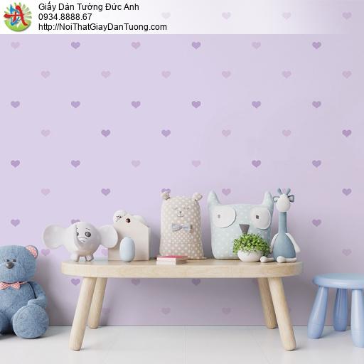 V concept 7921-2 | Giấy dán tường màu tím hình trái tim nhỏ dành cho bé gái đáng yêu