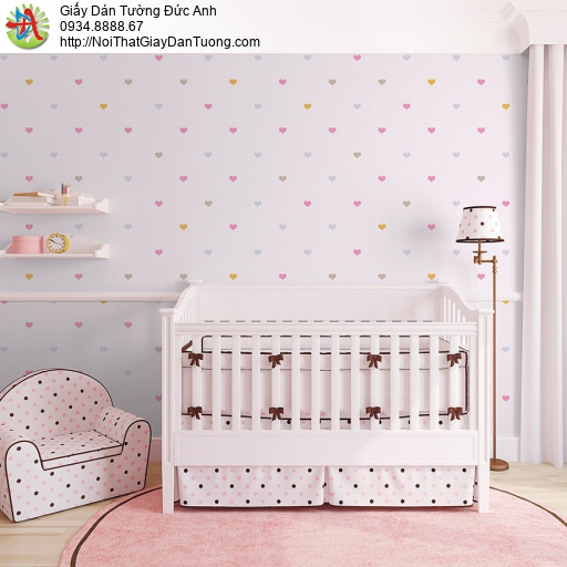 V concept 7921-3 | Giấy dán tường màu xám hồng hình trái tim nhiều màu hiện đại cho trẻ em
