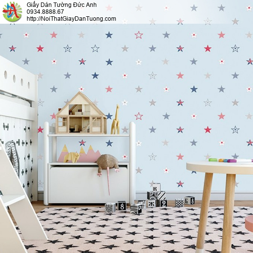 V concept 7925-2 | Giấy dán tường hình ngôi nhiều màu, nền màu xanh cho phòng ngủ bé trai