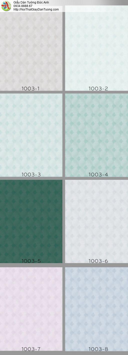 Vila 1003-8 | Giấy dán tường hoa văn ca rô màu xám xanh, caro hiện đại
