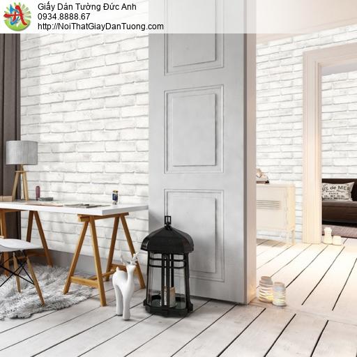 Soho 56094-2 | Giấy dán tường giả gạch 3D màu trắng xám, giả gạch trắng xám 3D