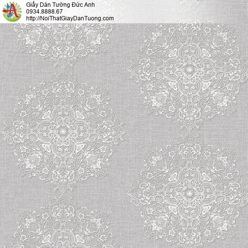 Mozen 61010-1, Giấy dán tường hoa văn hình tròn trên nền màu xám, giấy dán tường cổ điển