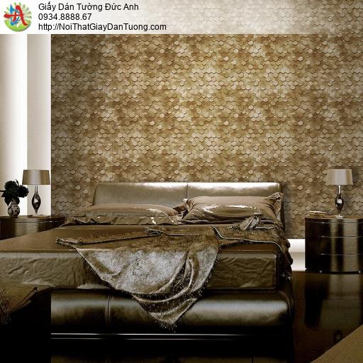 Mozen 70021-3, Giấy dán tường hình lập thể lục giác 3D, hoa văn tổ ong màu vàng đồng, màu gold