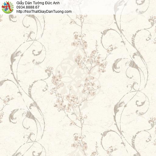 Mozen 73001-1, Giấy dán tường hoa văn cổ điển màu kem, giấy dán tường hoa văn dây leo