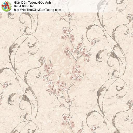 Mozen 73001-2, Giấy dán tường hoa văn cổ điển màu hồng phấn