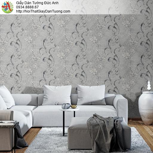 Mozen 73001-3, Giấy dán tường hoa văn cổ điển màu xám, họa tiết dạng dây leo