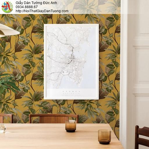 Soho 56143-2, Giấy dán tường cây lá màu xanh leo tường trên nền vàng cam