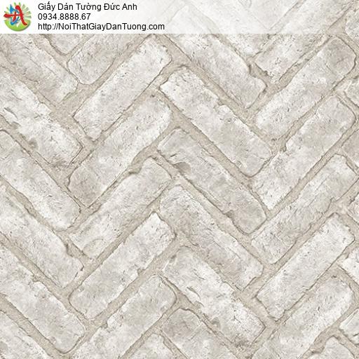 Casabene 2716-1, Giấy dán tường giả gạch màu trắng xám, gạch xây nghiêng xây chéo