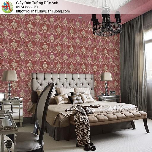 Casabene 2725-4, Giấy dán tường cổ điển màu đỏ, hoa văn cổ điển Châu Âu màu đỏ đô