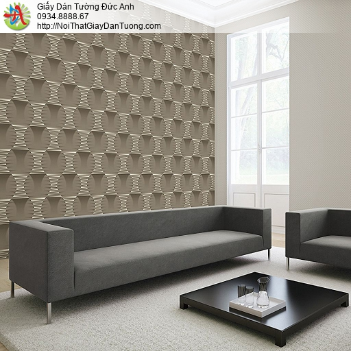 Casabene 2727-4, Giấy dán tường họa tiết 3D màu nâu hiện đại, điểm nhấn đẹp