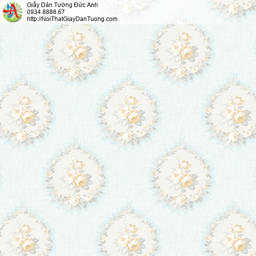 Casabene 2728-4, Giấy dán tường hoa văn cổ điển Châu Âu màu xanh nhạt thanh lịch