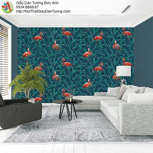 Casabene 2730-2, Giấy dán tường hình chim sếu đầu đỏ Bắc Mỹ trong rừng nhiệt đới màu xanh đậm