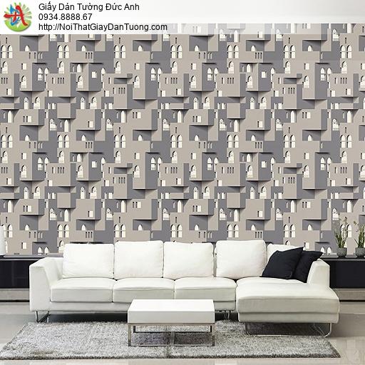 Casabene 2734-3, Giấy dán tường 3D mới nhất 2021 màu xám, điểm nhấn đẹp