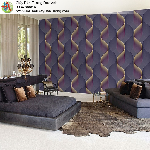 Casabene 2740-4, Giấy dán tường uốn lượn sóng 3D màu tím hiện đại cho điểm nhấn đẹp
