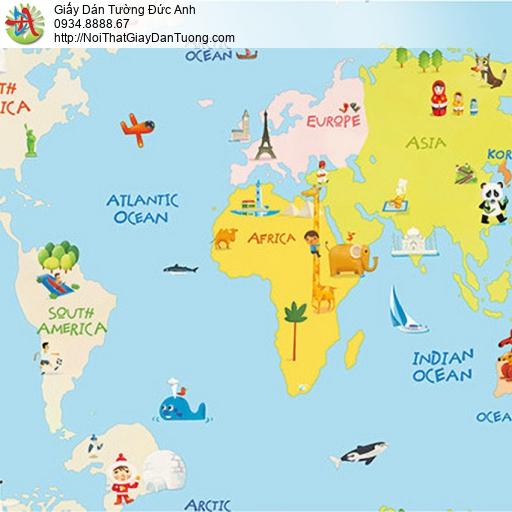 Giấy dán tường hình bản đồ, giấy dán tường trẻ em cho bé trai và bé gái, Happy Story 2009-1B