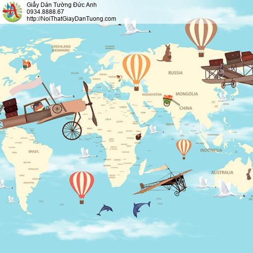 Giấy dán tường hình bản đồ thế giới cho trẻ em màu xanh, Happy Story 2031-1B