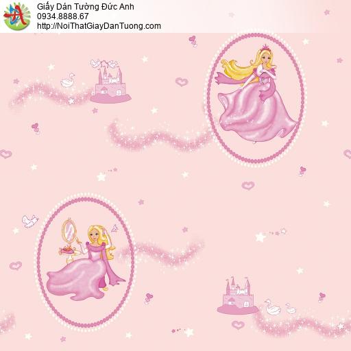 Giấy dán tường hình công chúa Disney màu hồng cho bé gái, Happy Story 2015-1B