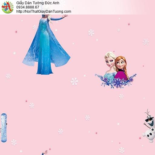 Giấy dán tường hình công chúa Elsa Anna trong nữ hoàng băng giá Frozen màu hồng dành cho trẻ em bé gái, Happy Story 6802-1B