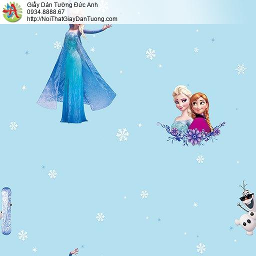Giấy dán tường hình Elsa Frozen nữ hoàng băng giá màu xanh cho bé gái, giấy trẻ em đẹp, Happy Story 6802-2B