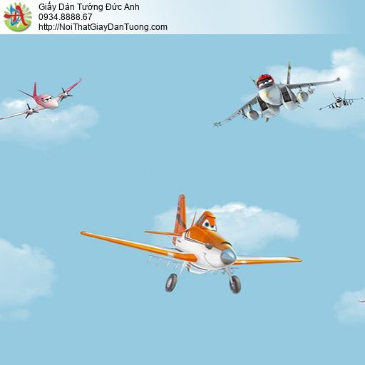 Giấy dán tường hình máy bay cho bé trai, thế giới máy bay Planes, tre em Happy Story 2032-1B