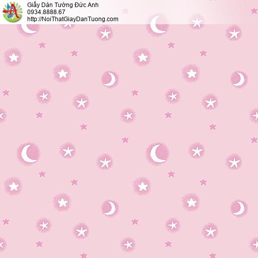 Giấy dán tường hình ngôi sao trăng màu hồng cho bé gái, giấy dành cho trẻ em, Happy Story 6801-2B