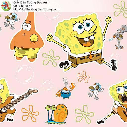 Giấy dán tường hình spongebob chú bọt biển tinh nghịch dành cho trẻ em, Happy Story 2030-1B