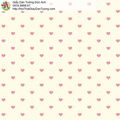 Giấy dán tường hình trái tim màu hồng nền vàng nhạt, giấy dán tường cho bé gái, Happy Story 2019-1B