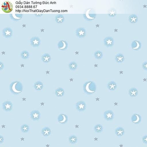 Giấy dán tường hình trăng sao màu xanh, mẫu giấy dành cho trẻ em đẹp, happy story 6801-1B