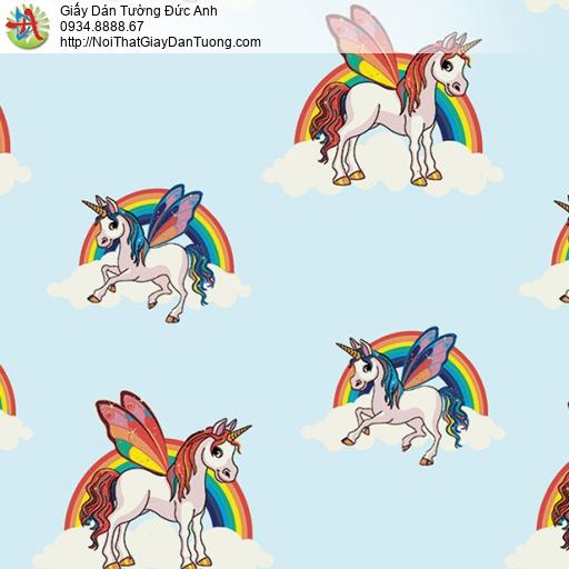 Giấy dán tường Kỳ lân Unicorn hình chú ngựa bay một sừng, giấy dán tường trẻ em Happy Story 6101-1B