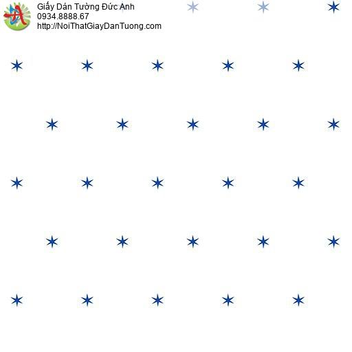Giấy dán tường các ngôi sao màu xanh trên nền trắng cho phòng trẻ em, Happy story 6804-1B
