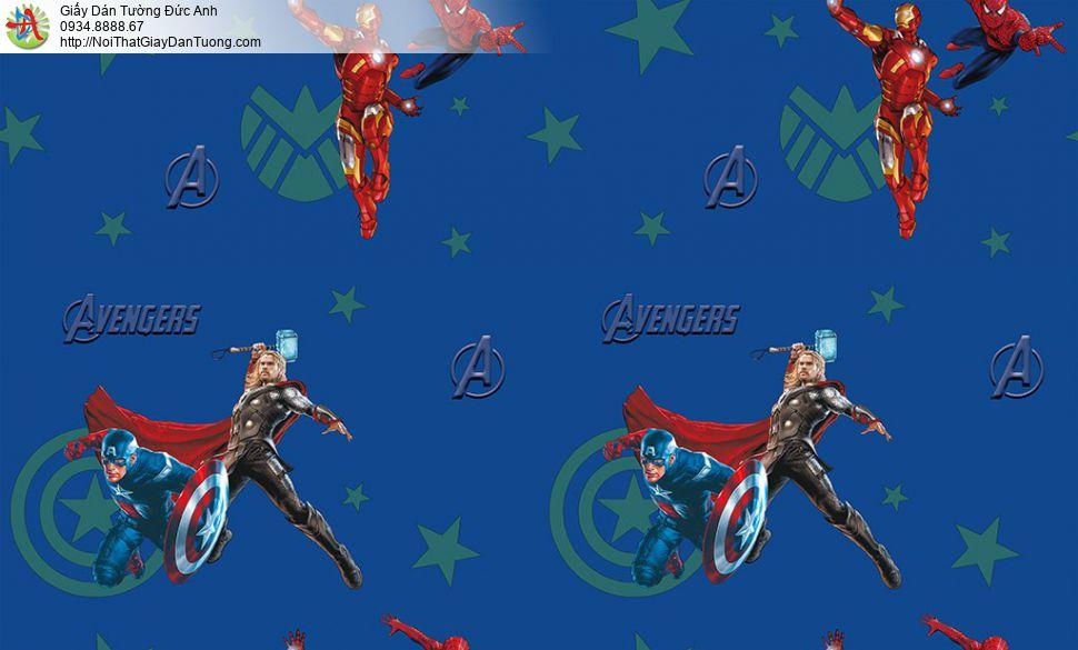 Giấy dán tường các siêu anh hùng Marvel studio Avenger, người sắt ( Iron man ), Thần sấm ( Thor ), SPIDER MAN ( người nhện ) Đội trưởng Mỹ (Captain America), Happy story 6808-1B