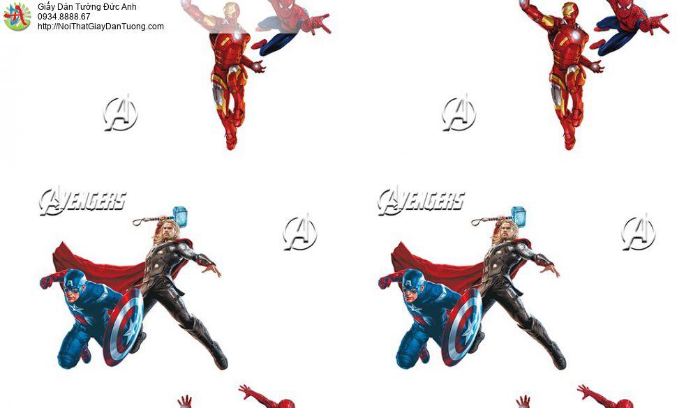 Giấy dán tường các siêu anh hùng Marvel studio Avenger, người sắt ( Iron man ), Thần sấm ( Thor ), SPIDER MAN ( người nhện ) Đội trưởng Mỹ (Captain America), Happy story 6808-2B