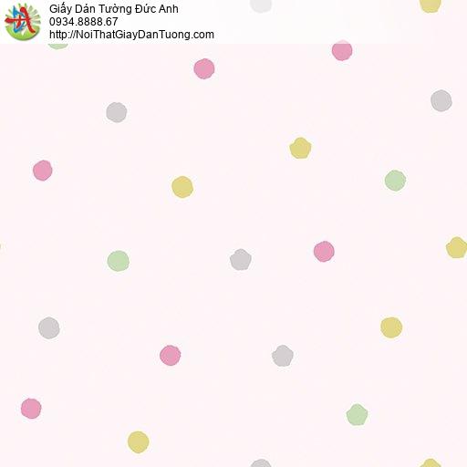 Giấy dán tường chấm bi hình tròn màu hồng, Happy story 6806-2B