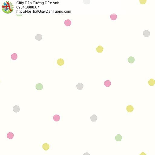 Giấy dán tường hình chấm bi tròn nền màu kem, Happy story 6806-1B