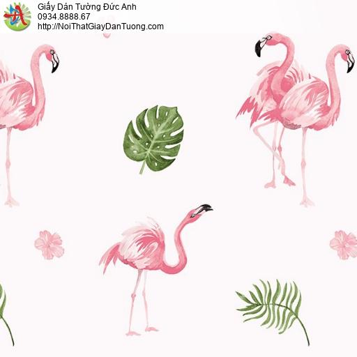 Giấy dán tường hình chim sêu màu hồng đẹp, Happy story 6805-2B (2028-2)