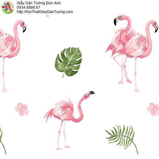 Giấy dán tường hình chim sếu màu hồng, siếu đỏ rừng nhiệt đới, Happy story 6805-1B - 2028-1